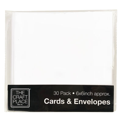 30 White Cards and Envelopes - 6 x 6 Inches image number 1
