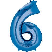 34 Inch Blue Number 6 Helium Balloon