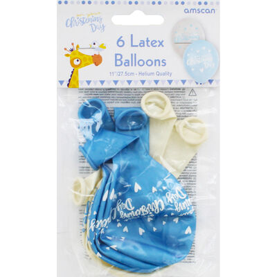 Blue Christening Day Latex Balloons - 6 Pack image number 2