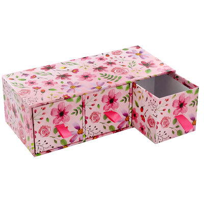 Pink Floral 3 Drawer Desk Organiser image number 4