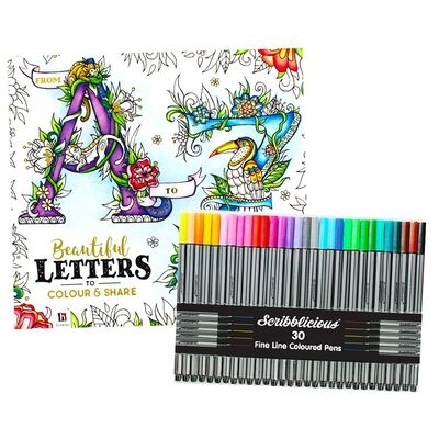 A to Z Beautiful Letters Colouring Book & Scribblicious Fine Line Coloured Pens Bundle image number 1