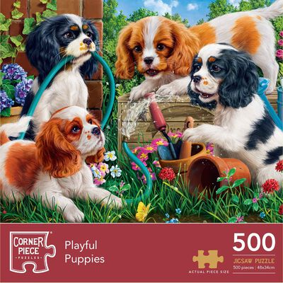 Playful Puppies 500 Piece Jigsaw Puzzle image number 1