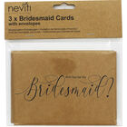3 Kraft Bridesmaid Cards with Envelopes image number 1
