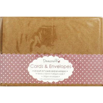 20 Brown Kraft Cards and Envelopes - 7cm x 10cm image number 1