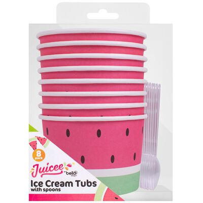 Watermelon Ice Cream Tubs And Spoons Pack of 8 image number 1
