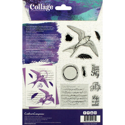 Crafter's Companion Collage Photopolymer Stamp - Born to Fly image number 3
