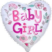 18 Inch Baby Girl Heart Helium Balloon