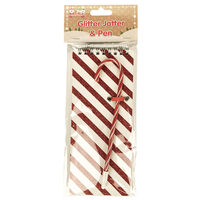 Candy Cane Glitter Notebook and Pen Set