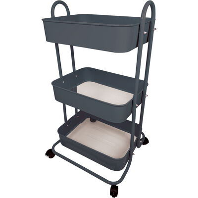 Grey 3 Tier Storage Trolley image number 2