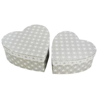 Grey Stars Heart Shaped Storage Box - 2 Pack image number 1