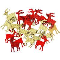 Wooden Glitter Reindeer Embellishments: Pack of 20