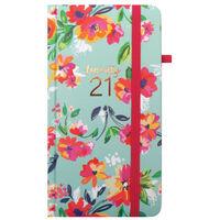 Green Floral 2021 Slim Week to View Pocket Diary