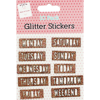 10pk Glitter Days of Week Stic image number 1