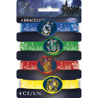 Harry Potter House Crest Rubber Bracelets: Pack of 4