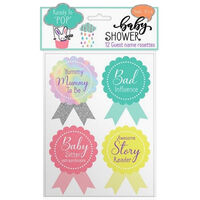 Baby Shower: Guest Name Rosette Stickers