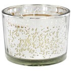 Silver 3 Wick Mistletoe Wood Scented Speckled Glass Candle image number 2