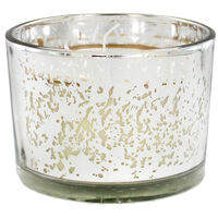 Silver 3 Wick Mistletoe Wood Scented Speckled Glass Candle