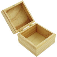 Small Square Hinged Wooden Box