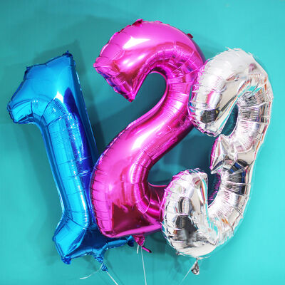 34 Inch Blue Number 1 Helium Balloon image number 3