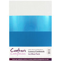 Crafters Companion A4 Luxury Cardstock Pack - Ice Blue