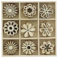 Wooden Flower Embellishments Box: Set of 45