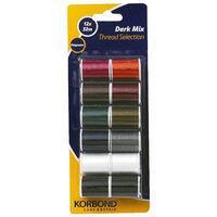 Korbond Dark Mix Polyester Thread Selection: Set of 12