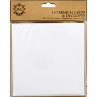 10 White Cards and Envelopes - 6 x 6 Inches