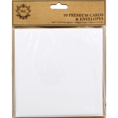 10 White Cards and Envelopes - 6 x 6 Inches image number 1