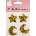 4pk Star Embellishments Gold image number 1
