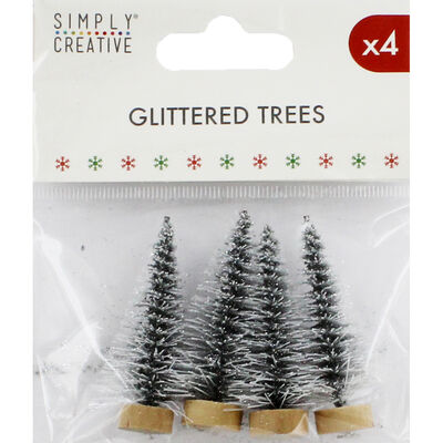 Silver Glittered Christmas Trees - Pack of 4 image number 1