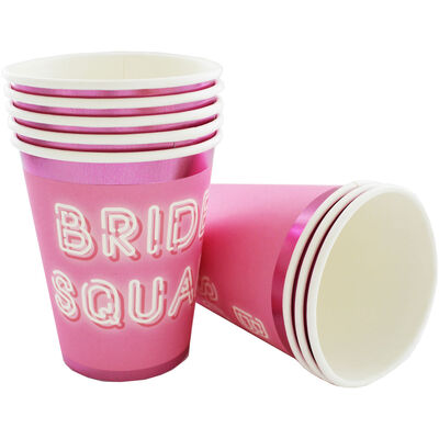 Pink Bride Squad Paper Cups - 8 Pack image number 2