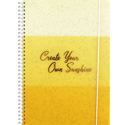 B5 Yellow Glitter Own Sunshine Lined Wiro Notebook image number 1