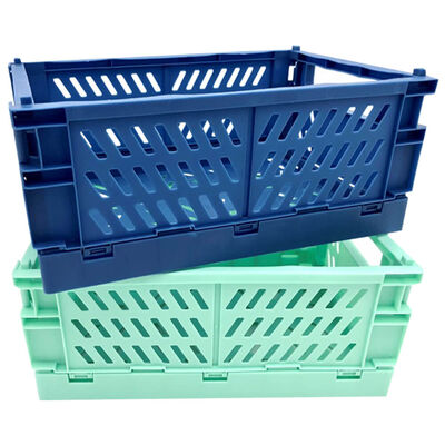 Blue and Turquoise Foldable Storage Crates: Pack of 2 image number 1