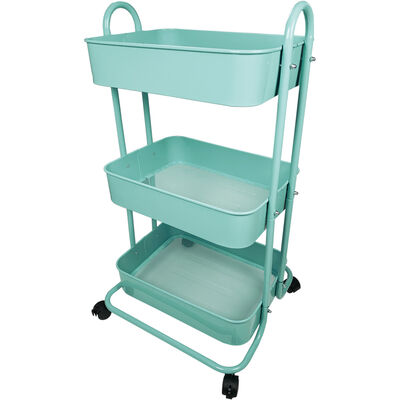 Turquoise 3 Tier Storage Trolley image number 2