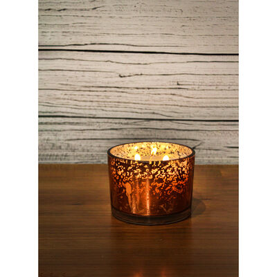 Rose Gold 3 Wick Mistletoe Wood Scented Speckled Glass Candle image number 4
