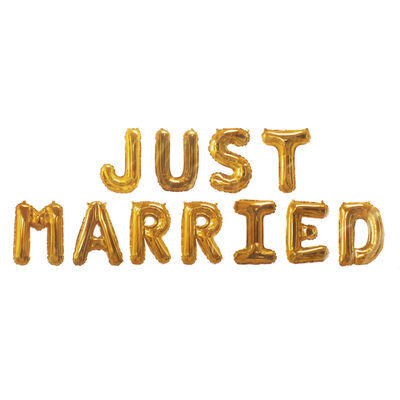 Gold Foil Just Married 16 Inch Balloons image number 2