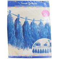 Blue Paper Tassel 3m Garland