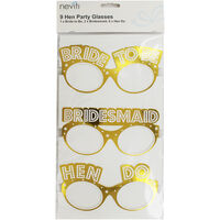 Gold Hen Do Party Glasses - 9 Pack