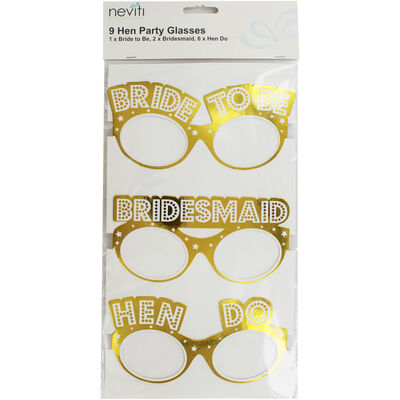 Gold Hen Do Party Glasses - 9 Pack image number 1