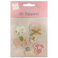 3D Baby Girl Toppers: Pack of 6