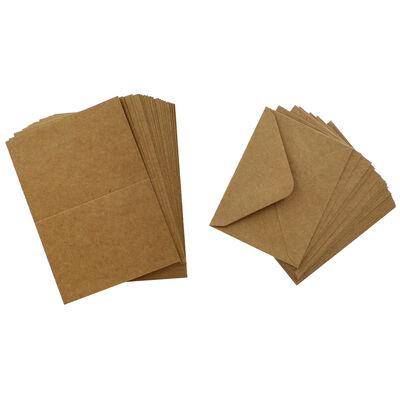 20 Brown Kraft Cards and Envelopes - 7cm x 10cm image number 2