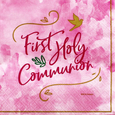 Pink First Holy Communion Paper Napkins - 16 Pack image number 1