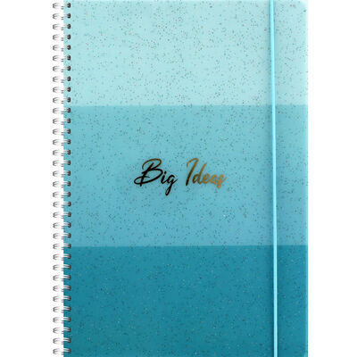B5 Blue Glitter Big Ideas Lined Wiro Notebook image number 1