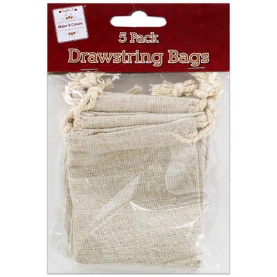 Drawstring Canvas Bags: Pack of 5 image number 1