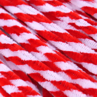 Red and White Candy Cane Pipe Cleaners - 60 Pack image number 2