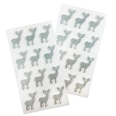 Silver Reindeer Embellishments Pack of 24 image number 1