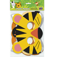 Animal Jungle Paper Party Masks - 8 Pack