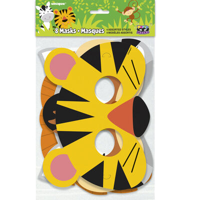 Animal Jungle Paper Party Masks - 8 Pack image number 1