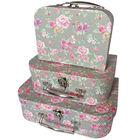 Vintage Floral Storage Suitcases: Set of 3 image number 1