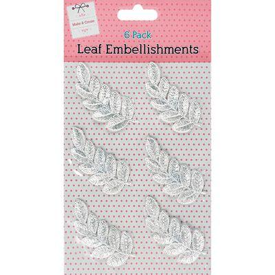 White Leaf Embellishments Pack of 6 image number 1